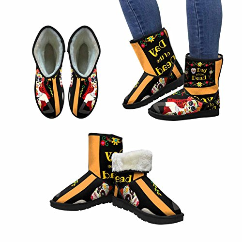 InterestPrint Womens Snow Boots Mexican Day Of The Dead Unique Designed Comfort Winter Boots Multi 1 a7URd9NZAT