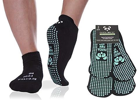 Bamboo Yoga Socks Non-Slip Full Toe Grip for Pilates, Barre and Hospital Rehab [2 Pack Black Mint]