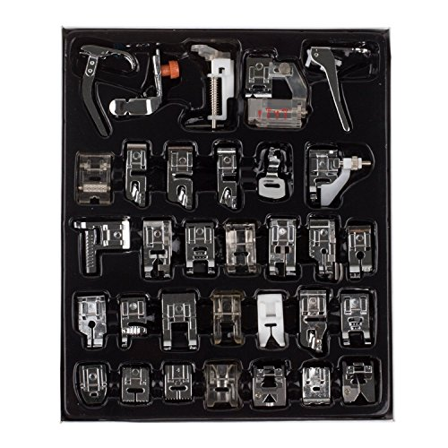 Agile Shop Professional Domestic 32 pcs Sewing machine Presser Feet Set for Brother Babylock Singer Janome Elna Toyota New home Simplicity Necchi Kenmore and White Low Shank Sewing Machines Presser Feet