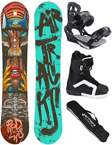 AIRTRACKS SNOWBOARD SET - BOARD RED LIPS 159 - SOFTBINDUNG SAVAGE - SOFTBOOTS STRONG 46 - SB BAG
