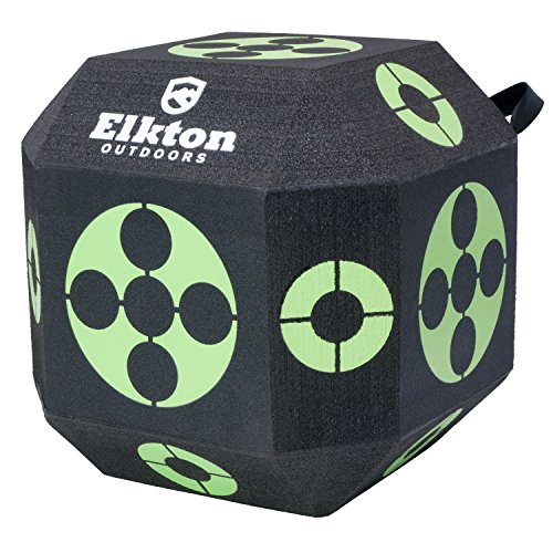 Reusable Target Balls (Elkton Outdoors 18-Sided 3D Cube Reusable Archery Target Constructed With Rapid Self Healing XPE Foam for all Arrow Types)