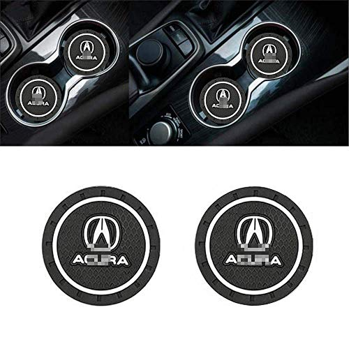 - ZOORG 2 pcs Set 2.75 Inch Diameter Car Cup Holder Coasters,Oval Tough Car Logo Vehicle Travel Auto Cup Logo Heavy Duty Rubber Coaster (A-cu-ra)