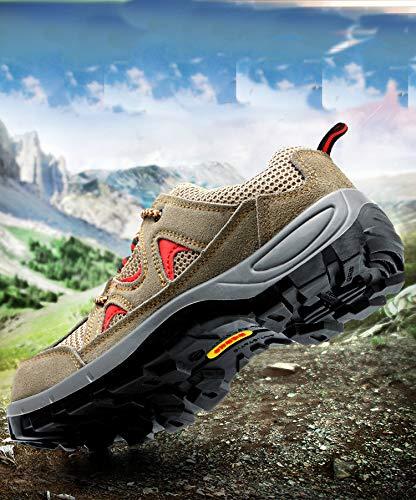 Sportlich Unisex Arbeitsschuhe Hiking Turnschuhe Stahlkappe tone Wanderhalbschuhe Damen Trekking S3 Schuhe Leicht Herren Sicherheitsschuhe Ali Schutzschuhe mit Atmungsaktiv Khaki BPqaA