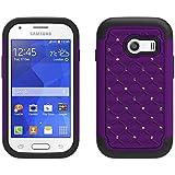 Samsung Galaxy Stardust Case, Galaxy Ace Style S765c Case, Defender Bling Hybrid Gel Protector Cover Hybrid (Purple / Black Skin)