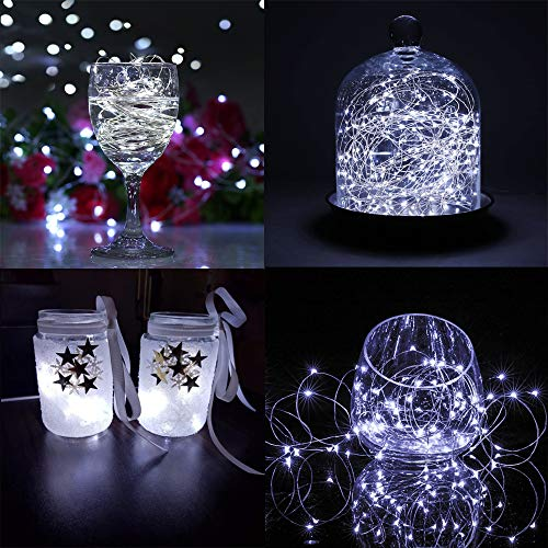 Fairy Lights CR2032 Battery Operated,6 Pack 2m 20LEDs Micro Silver Wire String Lights for Bedroom Christmas Party Wedding Decoration (Cool White)
