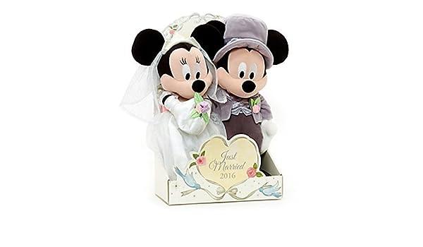 Auténtico Disney, Mickey y Minnie Mouse boda felpa Muñecas Peluche - 2016: Amazon.es: Juguetes y juegos