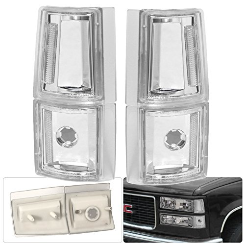 - For GMC 1500 2500 4 Piece Corner Paring Signal Lamp Lights Smoke Lens Chrome Housing Clear Reflector Replacement Upgrade