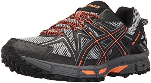 ASICS Mens Gel-Kahana 8 Running Shoe, Black/Hot Orange/Carbon, 9 Medium US