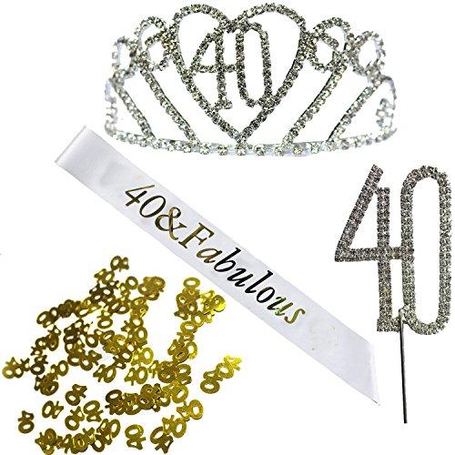 40th Hair Happy Birthday accessories Set - Silver Crystal Tiara Birthday Crown,Birthday Sash,Silver Crystal Birthday Cake Topper and Glod Birthday Confetti (40 Birth) -