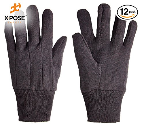 Protective Work Gloves - 12 Pack For Industrial Labor, Home and Gardening Jersey Knit Cotton and Polyester Blend - 9oz Fleece - Men's Large - Brown by Xpose Safety from Xpose Safety
