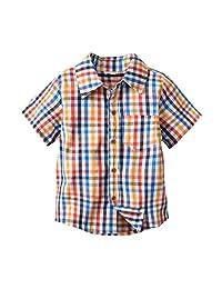 Dinlong Infant Baby Boys Clothes Short Sleeve Plaid Top Gentlemen T Shirt Blouse