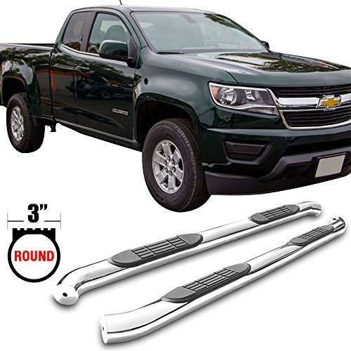 Side Step Bars Fits 2007-2017 Chevy Silverado & GMC Sierra Extended Cab | T304 Stainless Steel Finish Running Boards Nerf Bars Pair By IKON MOTORSPORTS | 2008 2009 2010 2011 2012 2013 2014 2015 2016