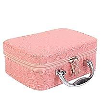 Elisona-PU Leather Cosmetic Makeup Box Case Toiletry Organizer Storage Handbag With Mirror Crocodile Pattern Pink