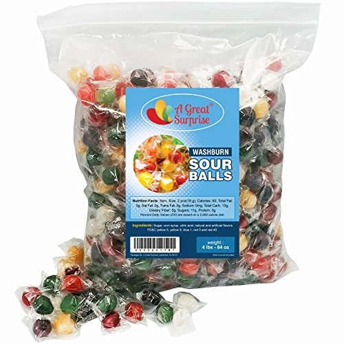 Sour Balls Hard Candy - Washburns Old Fashioned Hard Candy, Assorted Flavors, 4 LB Bulk Candy (Sour Hard Candy)