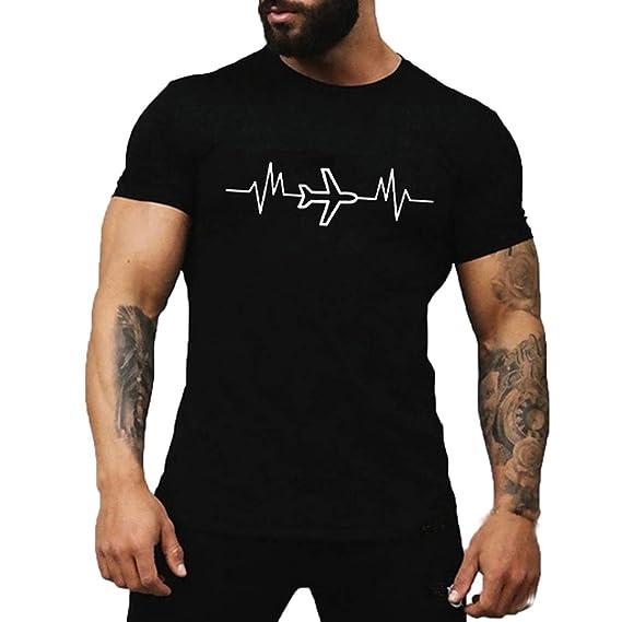 Amlaiworld_Camisas hombre Camisetas Hombre Manga Corta Originales Camiseta de Cuello Redondo con Estampado de avión de Dibujos Animados de Verano para ...