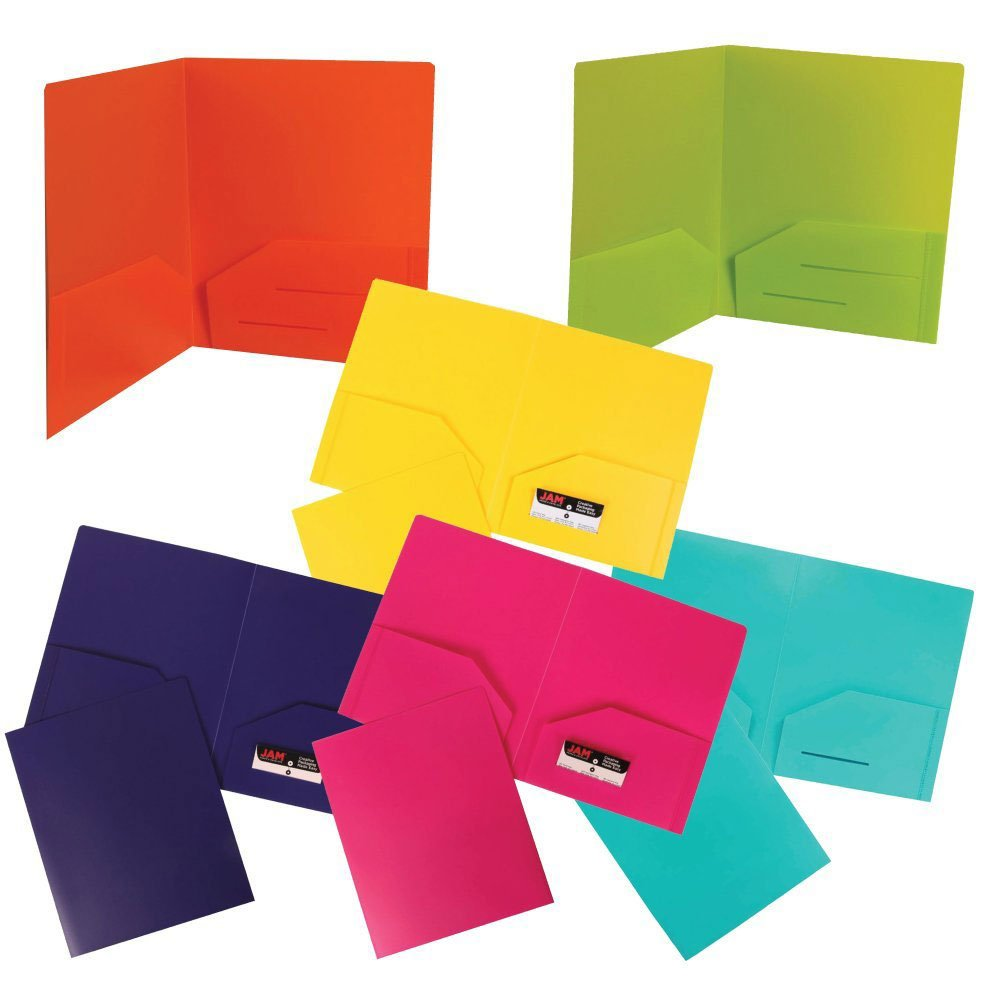 JAM Paper Plastic Heavy Duty 2 Pocket School Presentation Folders - Assorted Fashion Colors - 6/pack