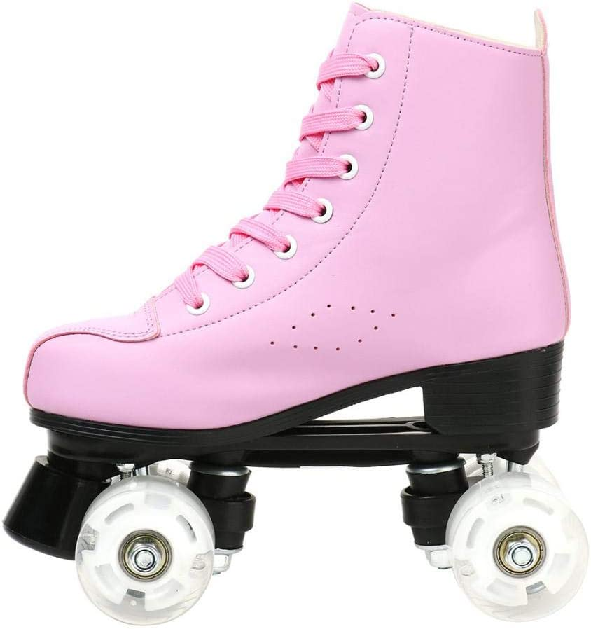 Pink Transparent Wheel no Flash,280//us 9 Women Roller Skates PU Leather High-top Roller Skates Four-Wheel Roller Skates Shiny Roller Skates for Unisex Kids and Adults