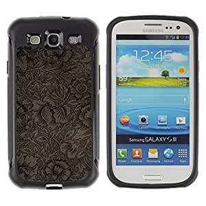 Jordan Colourful Shop@ Wallpaper Pattern Floral Coffee Flowers Rugged hybrid Protection Impact Case Cover For S3 Case ,I9300 Case Cover ,I9308 case ,Leather for S3 ,S3 Leather Cover Case