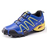 DeLamode Men Speed 3 Sport Running Shoes Geometry Lace High Spike Gym Shoes Blue-39