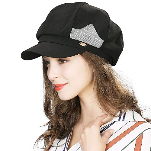 (Womens Packable Beret Newsboy Cap for Ladies Spring Summer Gatsby Classic Cabbie Visor Black Hat)