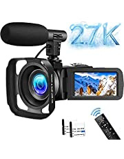 Video Camera Ultra HD 2.7K Digital Camcorder 16X 30FPS 30MP Digital Camera Night Vision Vlogging Camera for YouTube Camera with 360° Wireless Remote Control and External