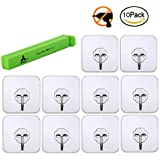 Adhesive Wall Hooks, 22 lbs(Max) Reusable Heavy Duty Sticky Hanger with Stainless Hooks - Waterproof Oilproof Non-Trace Wall Ceiling Decoration Removable Wall Hangers for Kitchen Bathroom Living Room