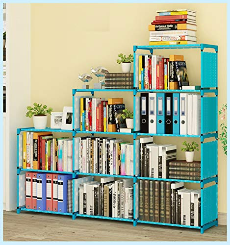 Kids Bookshelf 9-Cubes Book Shelf Office Storage Shelf Plastic Storage Cabinet, Blue (Blue Shelf)