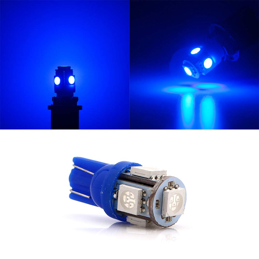 Pack of 20 5th Generation 5050 Chipsets 5SMD Lighting Source for 24V DC License Plate Map Dome Lights Lamp Bright Blue 194 T10 168 2825 501 W5W Car Interior Replacement LED Light Bulb JAVR