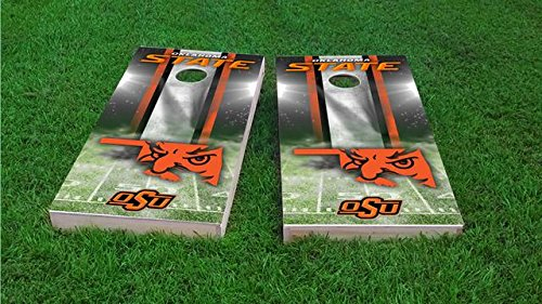 (Tailgate Pro's Oklahoma State Cowboys Home Stadium Cornhole Boards, ACA Corn Hole Set, Comes with 2 Boards and 8 Corn Filled Bags)