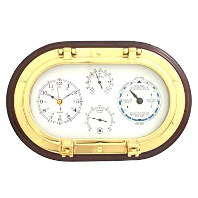 Bey-Berk SQB579 Lacquered Brass Oval Porthole Quartz Tide and Time Clocks, Thermometer and Hygrometer on Mahogany Wood. Black - A Must Buy Item. Built To Last. Great Item To Give as A Gift. - clocks, bedroom-decor, bedroom - 51JzlgBFBKL. SS400  -