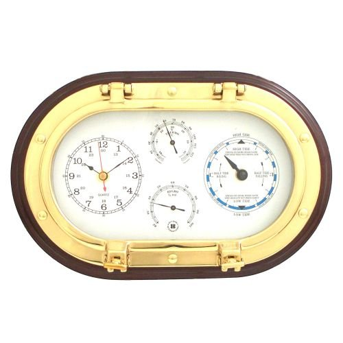 Bey-Berk SQB579 Lacquered Brass Oval Porthole Quartz Tide and Time Clocks, Thermometer and Hygrometer on Mahogany Wood. - Quartz Porthole Brass Clock