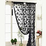 Voberry Fashion Luxury Black Butterflyes Pattern Door Window Polyester Fiber Curtain Room Divider Strip Tassel Butterfly Pattern 100*200cm Approx for Home Decor