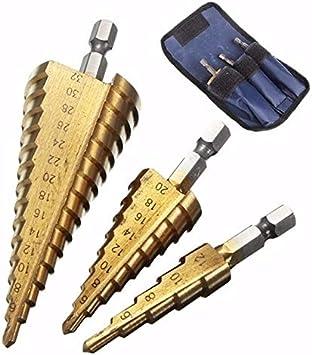 Step Cones Taper Drill Bits Set Hole Cutter Metric Titanium Coated Metal Hex New