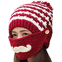 Kafeimali Women Winter Knit Stripe Beard Masks Skull Caps Slouch Beanie Hats