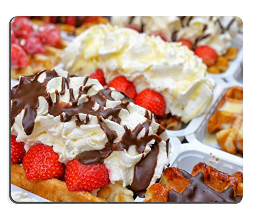 Liili Mouse Pad Natural Rubber Mousepad Fresh Brussels gaufres closeup image Traditional dessert in Belgium waffles with different toppings whipped cream and fruits Image ID 23387120 (Custom Belgian Chocolate)