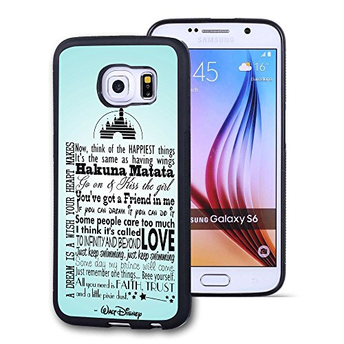 Samsung Galaxy S6 Case, Customized Disney Walt Disney Quotes Black Soft Rubber TPU Samsung Galaxy S6 Case, Walt Disney Quotes Galaxy S6 Case(Not Fit for Galaxy S6 Edge) - Disney Cell Phone Cases