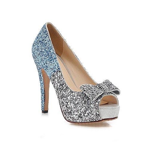 Allhqfashion Peep Toe Pull-on Pailletten Van Verschillende Kleuren Assorti Sandalen Met Hoge Hakken Blauw