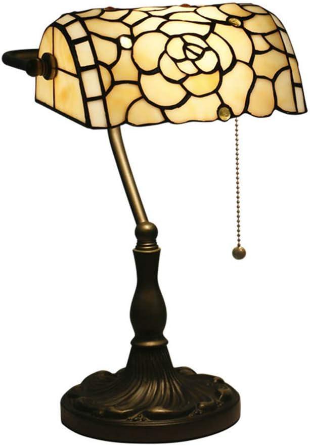 Tiffany Style Lámpara de Banquero Lámpara de mesa Barroco Europeo Vitral Lámpara de Escritorio Hecho a mano con Base de Zinc Sala de Estar Oficina Estudio Dormitorio cabecera Lámpara de Lectura