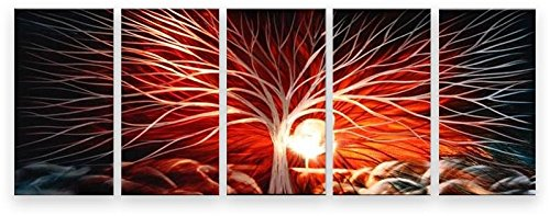 Metal Wall Art Abstract Modern Contemporary Sculpture Home Wall Decor Red Sky Tree by Matthew's Art Gallery