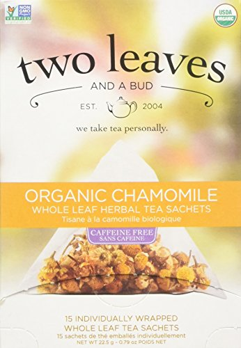 Two Leaves and a Bud Organic Chamomile Herbal Tea, Tea Bags, 15-Count Box (Two Leaf)