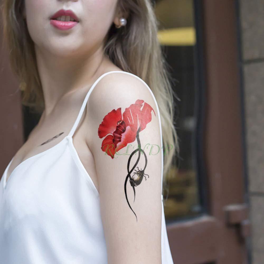 3Pcs-Etiqueta engomada del Tatuaje Impermeable Rosa Flor roja Hoja ...