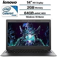 Lenovo IdeaPad 14 High Performance Laptop, Intel Celeron Dual-Core Processor, 2GB RAM, 64GB eMMC HDD, Webcam, WIFI, HDMI, USB 3.0, NO DVD, Windows 10 (Certified Refurbished)