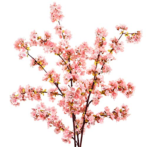 (Sunm boutique Plum Blossom Artificial Flowers Simulation Flower Table Decoration Accessories Party Beach Theme Decorations (Pink Cherry Blossom, Pack of 3))