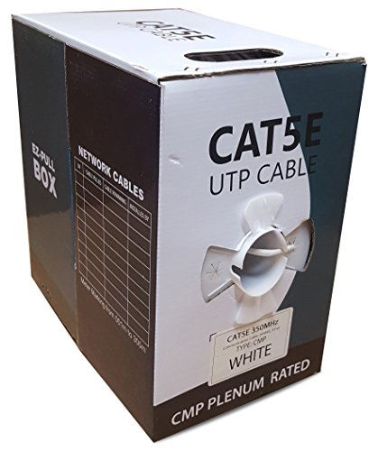 CAT5E Plenum 1000FT Solid 24AWG 350MHZ UTP Bulk White CMP Network LAN Cable