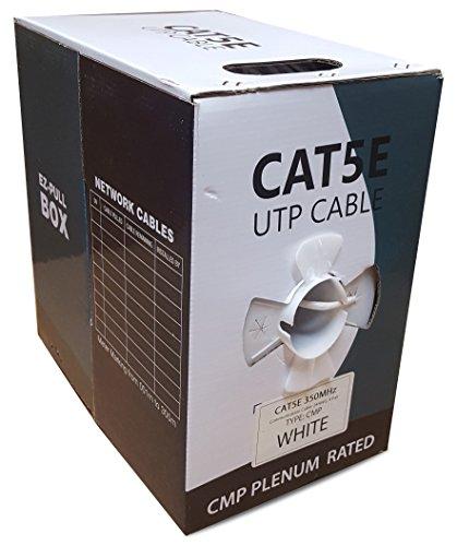 CAT5E Plenum 1000FT Solid 24AWG 350MHZ UTP Bulk White CMP Network LAN Cable (1000 Foot Cat5e 350mhz Cable)