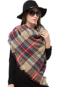 Plaid Blanket Scarf Women Big Square Long Scarves Warm Tartan Checked Shawl