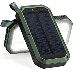 Solar Charger, 8000mAh 3-Port USB and 21LED Light Solar Power Bank Portable Battery Cellphone Charger, Solar Panel for Emergency Outdoor Camping Hiking for IOS and Android cellphones (Green+Black)