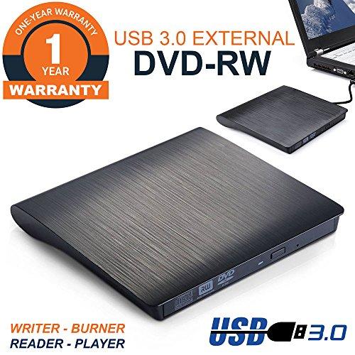 USB 3.0 Ultra Portable External CD DVD ROM RW Drive/Writer/Burner for Laptops, Desktops, Notebooks Mac, Macbook Pro Air iMAC (Black) (Dvd Player For Mac Laptop)