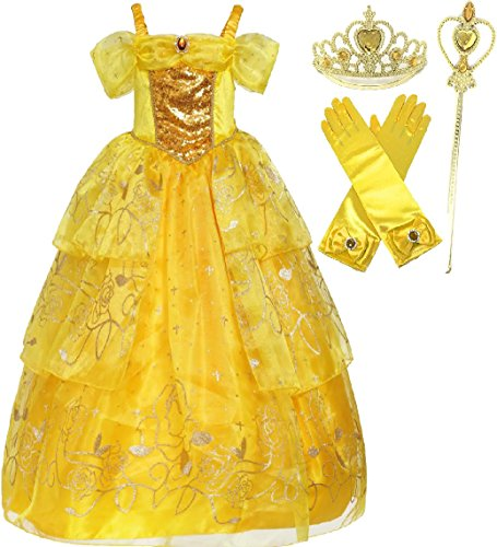 Yellow Dress Up Costumes (Romy's Collection Exclusive Princess Belle Yellow Party Costume Deluxe Dress-Up Set (4-5))