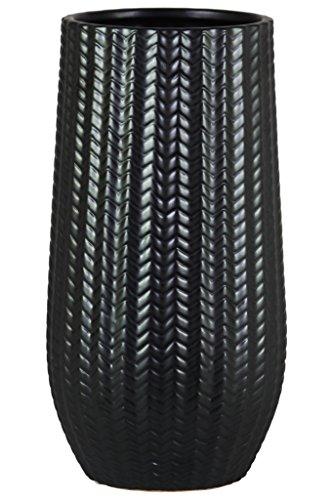 Urban Trends 11436 Stoneware Cylindrical Vase with Engraved Lattice Black ()